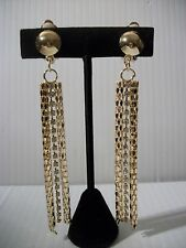 """4"""" gold dangle mesh chain stones clip on earrings light weight non pierced"""