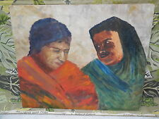 Southwest California Mission Indian Women Vintage 1940's Western Art Painting
