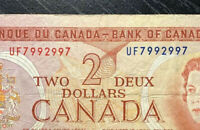 CANADA 1974 $2 RADAR BANKNOTE *7992997* LAWSON-BOUEY - PREFIX: UF