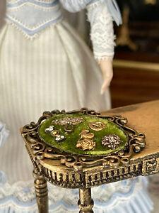 Vintage Miniature Dollhouse Artisan Antique Style Brooch Display Gilt Velvet