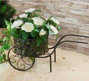 Metal Iron Wheelbarrow Planter Flower Plant Stand Garden Ornament Decoration