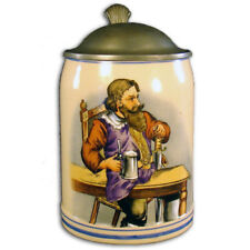Hand Painted German Stein with Pewter Lid - 1910