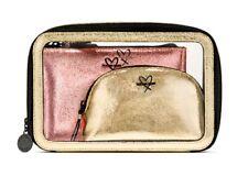 Victoria's Secret Metallic Crackle Backstage Nested Trio travel makeup bags NEW