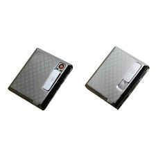1pc Metal Cigarette Case Holder & USB Lighter Electronic Rechargeable Windproof