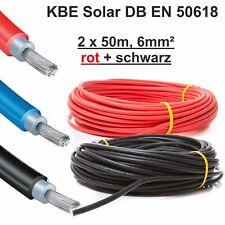 """Solarkabel, 2 x 50m, 6mm² ROT+SCHWARZ, neueste Norm """"EN 50618"""", KBE, Deutschland"""