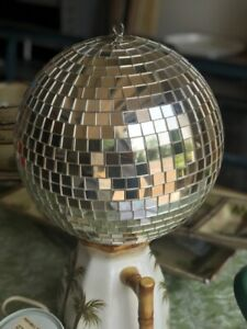 """Vintage 10"""" Disco Spinning Mirror Ball with spinning motor. Good Condition"""