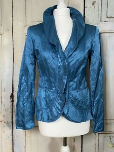 💕GERRY WEBER Beautiful Deep Turquoise Crinkle Satin Occasion Jacket Size 12