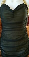 NWT MARILYN MONROE 40's Style Mesh Swim Dress Long Short BATHING SUIT 4-6 SMALL