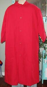 """Best Medical Lab Coat Snap 3 Pocket Side Vent 3/4 sleeve 44"""" Length Sz Large Red"""