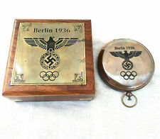 Solid Brass Push Button Compass Antique Compass With Wooden box gift