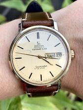 Vintage Omega Seamaster De Ville Tiffany & Co Automatic Day Date 14K Gold 35mm