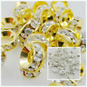 50Pcs Gold/Silver Mixed Crystal Big Hole Spacer Beads For Jewelry Findings 8mm