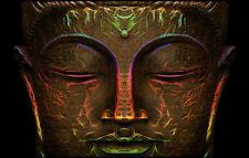 Enmarcado Impresión-Color Dorado Del Buda Cara (imagen de arte cartel Buda Budista)