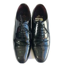 Mens TED BAKER Archeey 2 Black Patent Leather Gray Plaid Toe Cap size US 9 EUC
