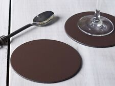 Set of 4 BROWN ROUND Leatherboard COASTERS