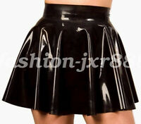 Hot Sale New Latex Rubber Pure Black Waterproof Pleated Mini Cool Skirt  S-XXL