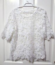 LADIES WHITE LACEY SEE THRU SHORT SLEEVED BLOUSE SIZE 14