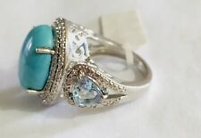 STS CHUCK CLEMENCY KARIS STERLING SILVER 925 RING TURQUOISE BLUE TOPAZ SZ 6 NWT!