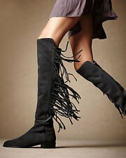 New STUART WEITZMAN Size 10 MANE Black Suede Fringe Knee High Boots