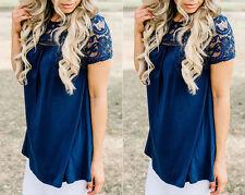 Fashion Women Summer Vest Top Short Sleeve Blouse Casual Tank Tops T-Shirt Lace