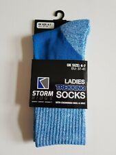 BLUE OR PURPLE LADIES TREKKING WALKING SOCKS PADDED CUSHIONED HEEL AND SOLE 4/7