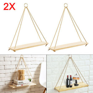 2pcs Rustic Solid Wood Rope Hanging Wall Vintage Storage display Floating Shelf