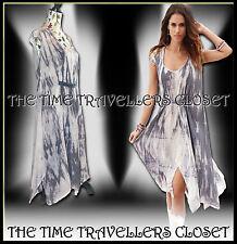 NOMADS Fair Trade Boho Grey Lilac Tie Dye Zig Zag Hippy Dress Lagenlook UK 12 14
