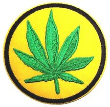Marijuana Cannabis Weed leaf Patch Embroidered Iron Sew On Badge Hash Grass