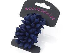 Navy Blue Flower Ponio Hair Elastics Hair Bands Headbands Bobbles