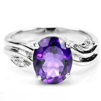 Ring Purple Amethyst Genuine Natural Gems Solid Sterling Silver Size O  US 7.25