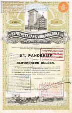 HOLLAND AMERICAN MORTGAGE BANK stock certificate 1915 W/COUPONS