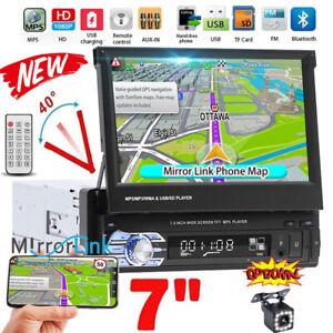 """7"""" MP5 FM USB 1DIN Radio de coche Bluetooth Retráctil Pantalla táctil con Cámara"""