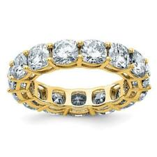 14k Yellow Gold D-Color Moissanite Cushion Cut 4.5mm 8ct Eternity Band Ring Sz 7