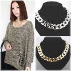 HK- Punk Style Cut Aluminium Link Chain Choker Chunky Shiny Gold Curb Necklace F