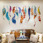 Colour Feather Wall Stickers Vintage Home Office Decor Removable Vinyl Art Decal