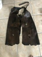 Antique Cowboy Chaps Western Leather Cowboy