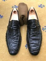 Gucci Men's Shoes Black Ostrich Leather Loafers UK 10.5 US 11.5 EU 44.5
