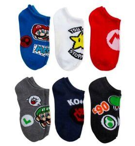 Nintendo Super Mario Bros Little Boys No Show Luigi Yoshi Socks 6pk