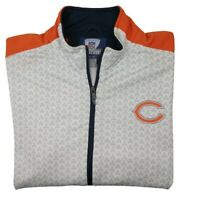 Reebok Chicago Bears Men's Medium White Orange Full Zip Track Jacket Sweatshirt