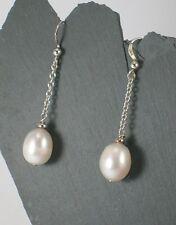 White Freshwater Pearl Dropper Earrings