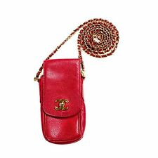 CHANEL CAVIAR MINI SHOULDER BAG - CASE RED LEATHER GOLD CHAIN CC CELL PHONE