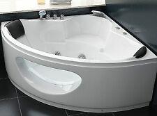 Designer Whirlpool Badewanne Eckbadewanne mit Glas + Beleuchtung Wasserfall Spa
