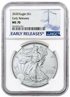 2020 1oz Silver Eagle NGC MS70 Early Releases Blue Label