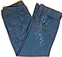 DKNY Jeans Womens Size 2 Gray Capris Cropped Left Leg Floral Embroidered Cotton
