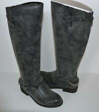 Madden Girl Wide Calf Boots Caanyon Size 5.5 M BLACK CHAIN Knee High RIDING NEW