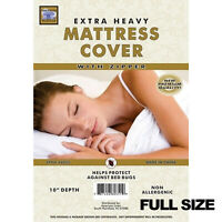 Waterproof Zippered Vinyl Mattress Cover None Allergenic Bed Bug Protector (FS)