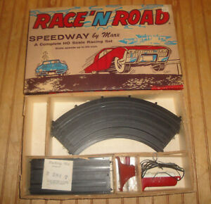 MARX Race 'N Road Cross Over Speedway Set HO w/ Box And Tracks Parts Lot