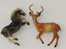 Vintage Hong Kong broken Rearing Horse & Deer Stag Buck for parts repair remake