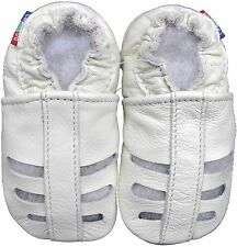 carozoo sandals white 3-4y soft sole leather toddler shoes slippers