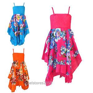 Girls Summer Dress Flower Holiday Handkerchief Dresses Hanky Floral 3 - 4 Years